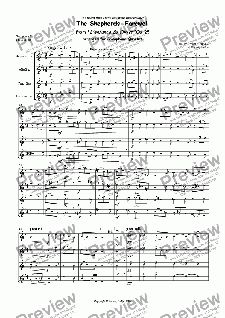 page one of The Shepherds' Farewell arr for Saxophone Quartet