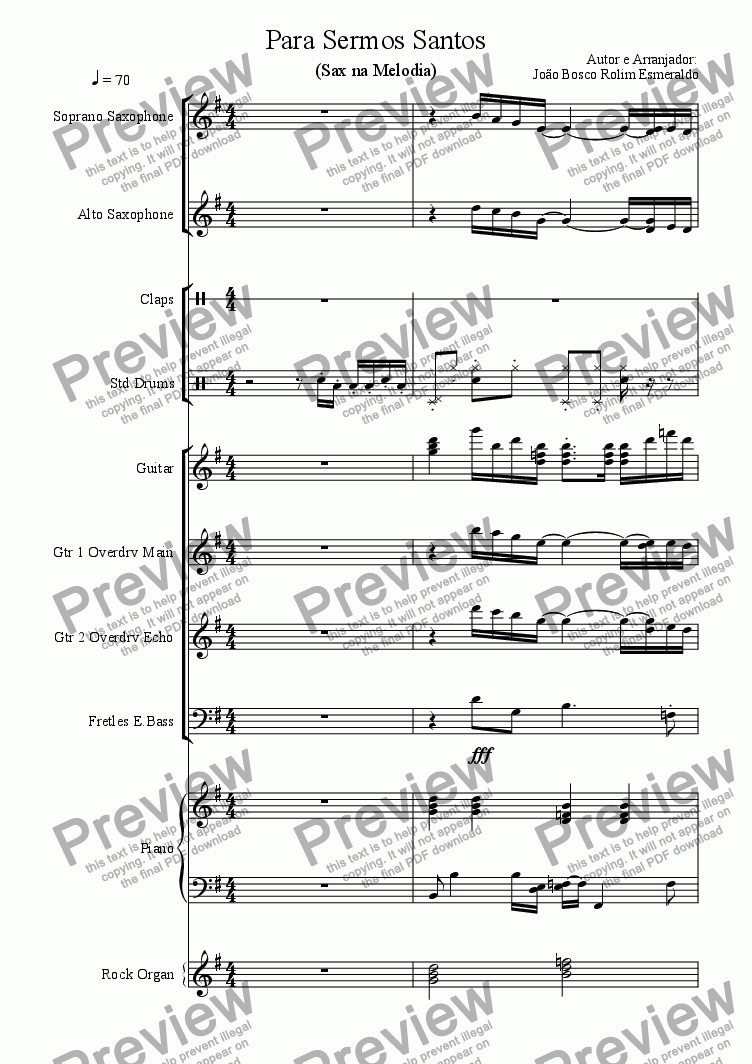 page one of Para Sermos Santos (Melodia no Sax)