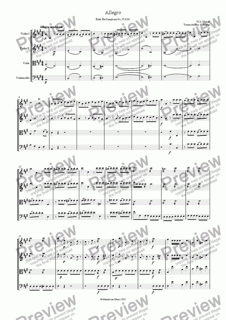 page one of Allegro from the Symphony No. 29 in A Major