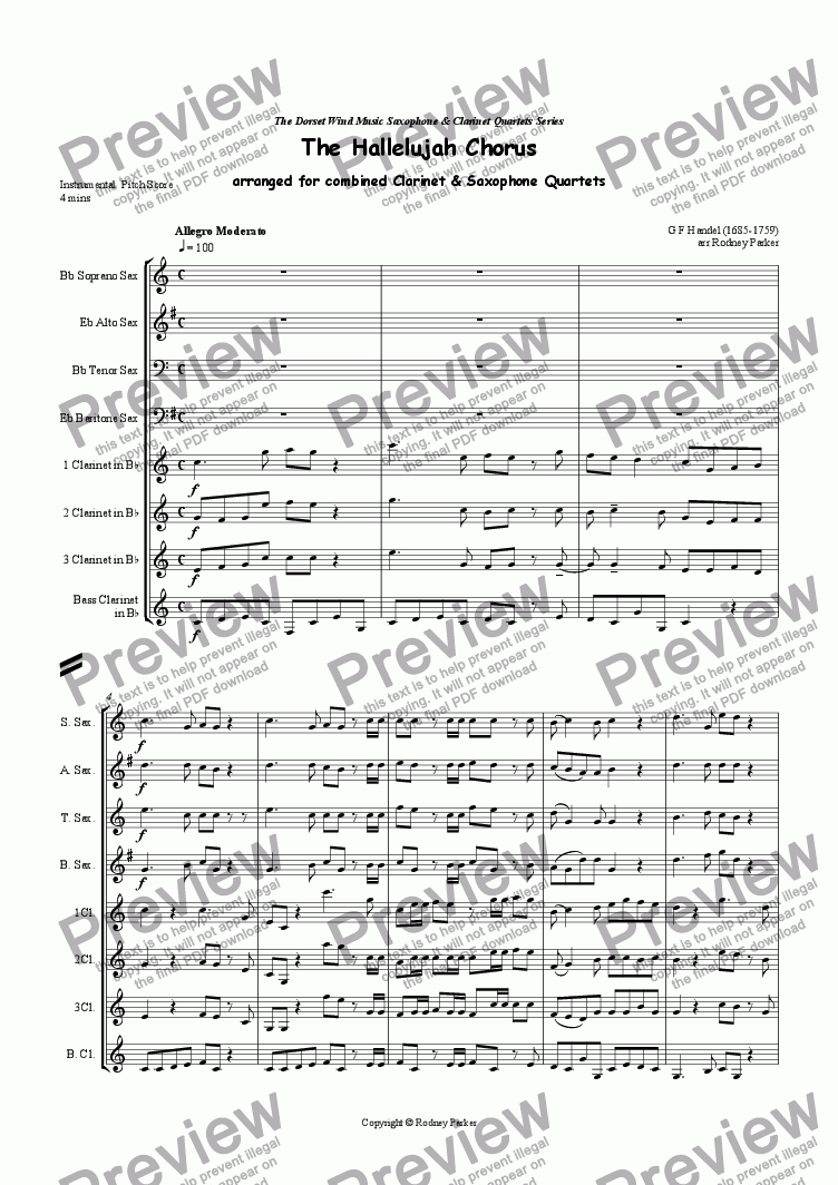page one of Hallelujah Chorus arr for combined Saxophone & Clarinet Quartets