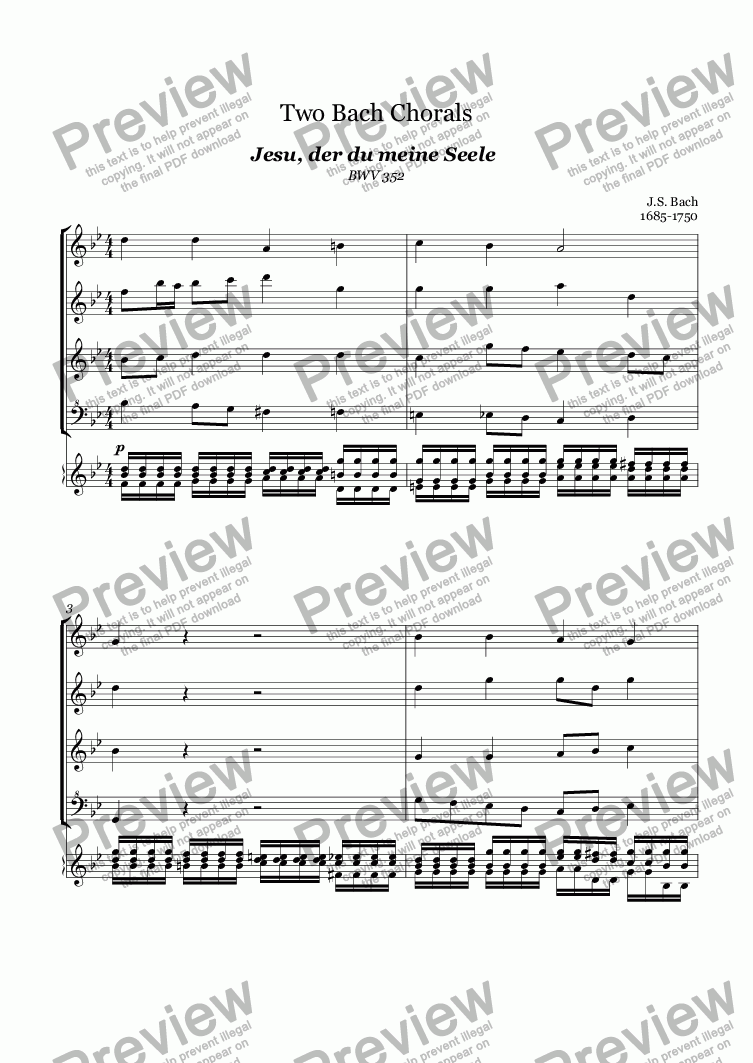 page one of Two Bach Chorals (Bach)
