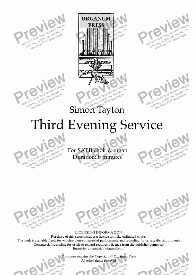 page one of Third Evening Service