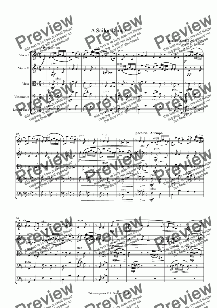 "page one of Dunhill - Op.46 No.2  ""A Sailor Dance"" for string orchestra"