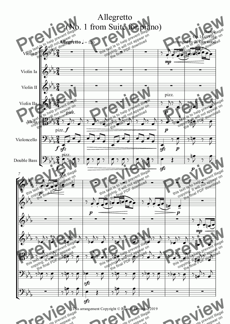 page one of Bartok - Allegretto  (No. 1 from Suite for piano) for string orchestra