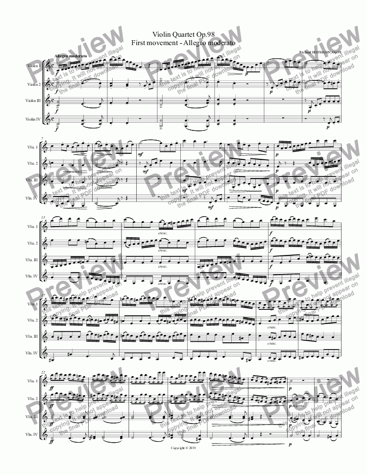page one of Violin Quartet Op.98  First movement - Allegro moderato