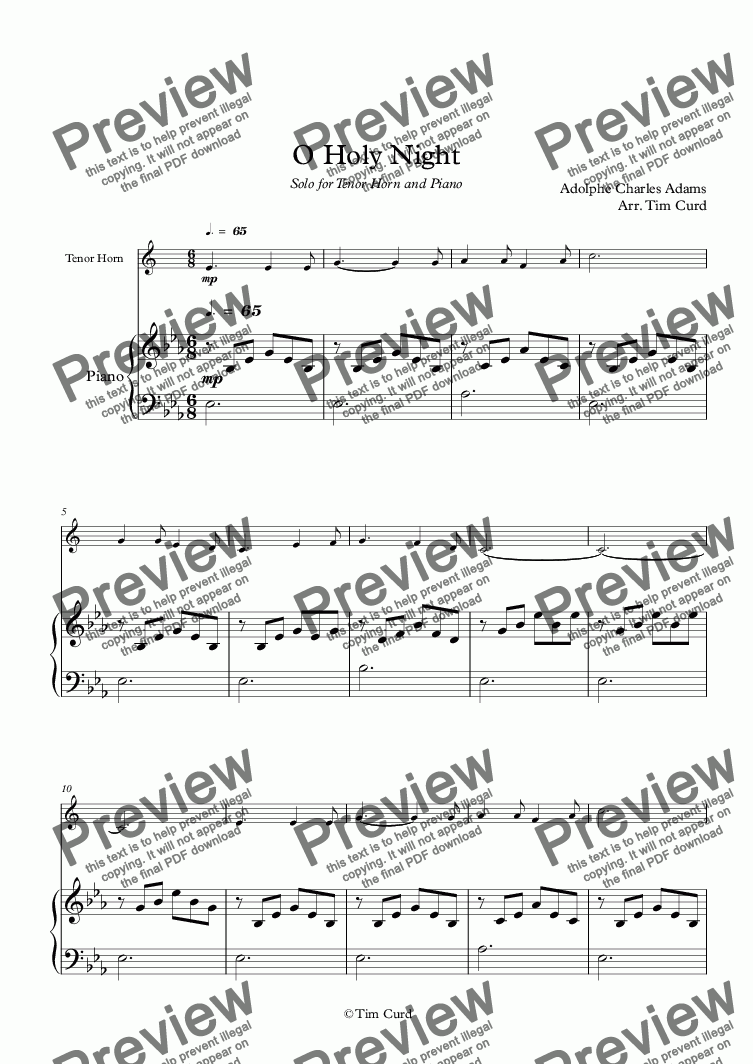 page one of O Holy Night. For Solo Tenor-Horn in Eb and Piano