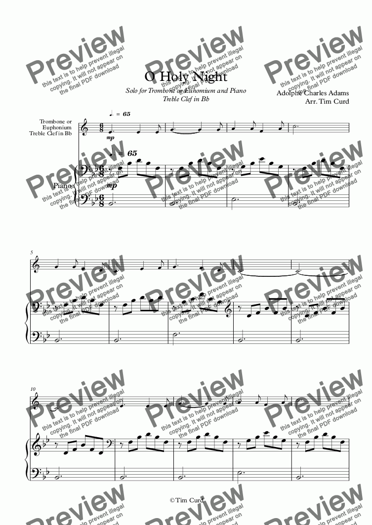 page one of O Holy Night. For Solo Trombone/Euphonium in Bb (treble clef) and Piano