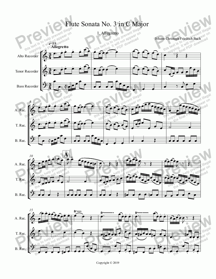 page one of Bach JCF, Flute Sonata No. 3 in C Major (ATB Recorders)