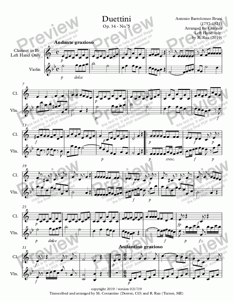 page one of Bruni Duettini Op. 34 - No. 5 duet for violin and clarinet left hand only
