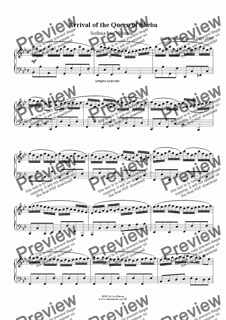 "page one of ""Arrival of the Queen of Sheba""-Download Sheet Music (simplified piano)-Handel"
