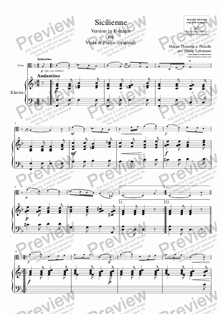 page one of 	Paradis, M.T.v. - Sicilienne - vers. in F-maj. for Viola & Piano (orig.)