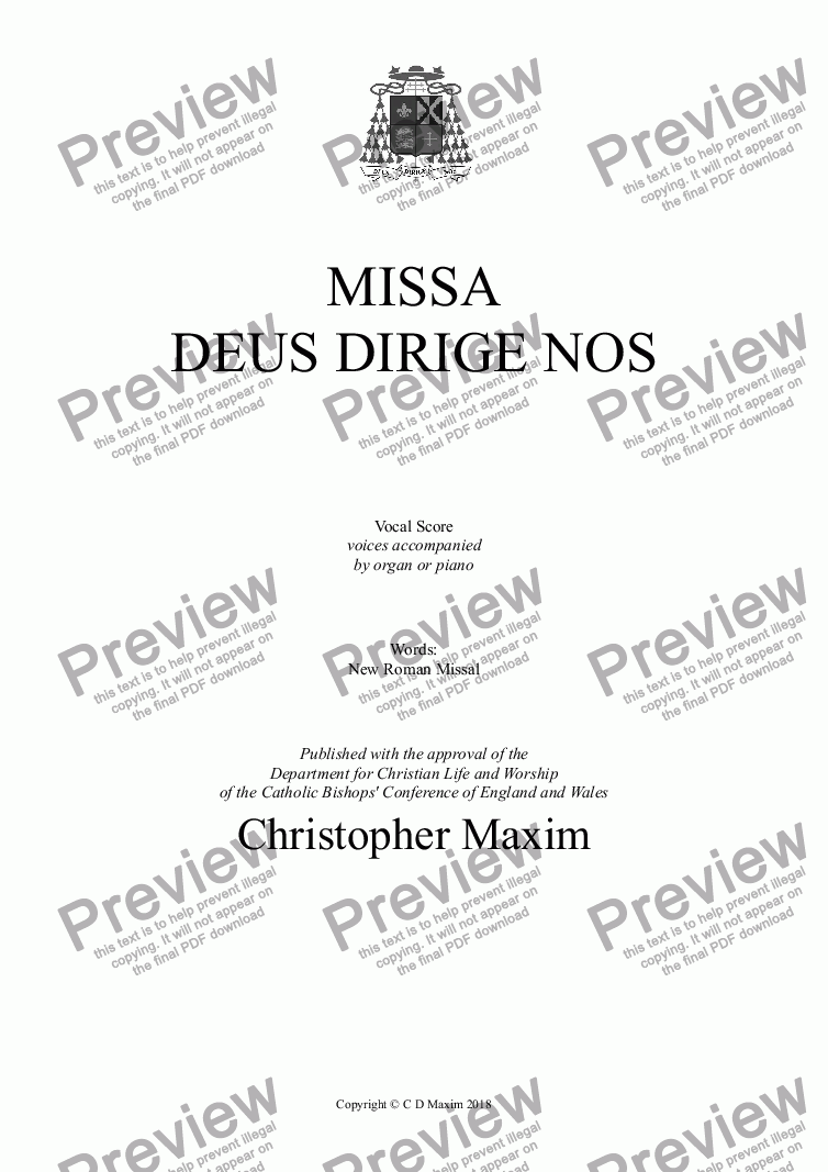 page one of Missa Deus Dirige Nos (New Roman Missal / Voices & Piano or Organ)