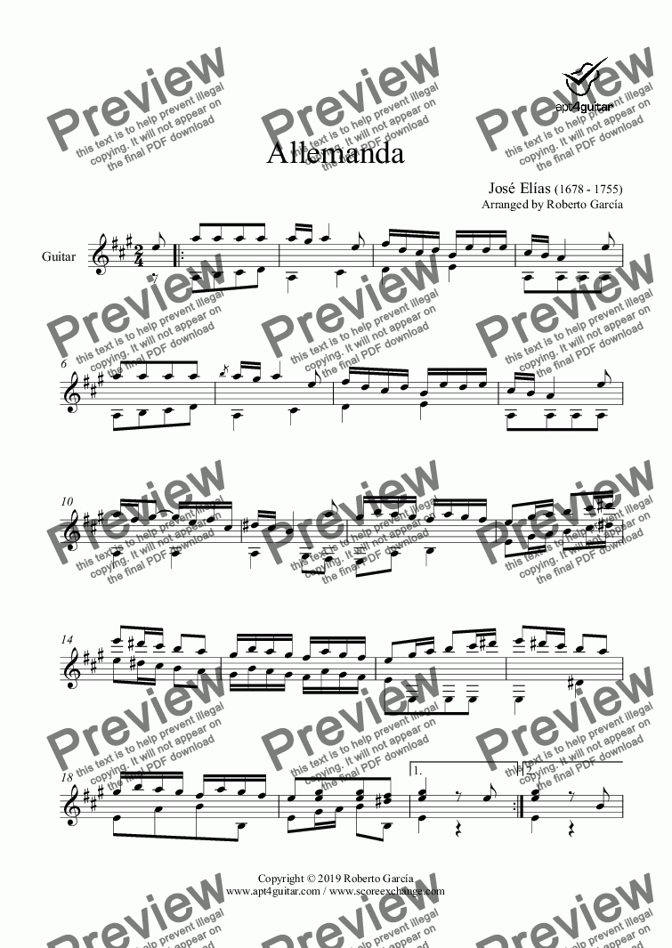 page one of Allemanda for solo guitar