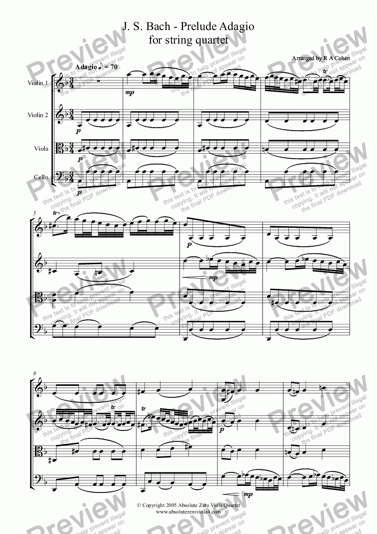 page one of Bach - PRELUDE ADAGIO -  for string quartet