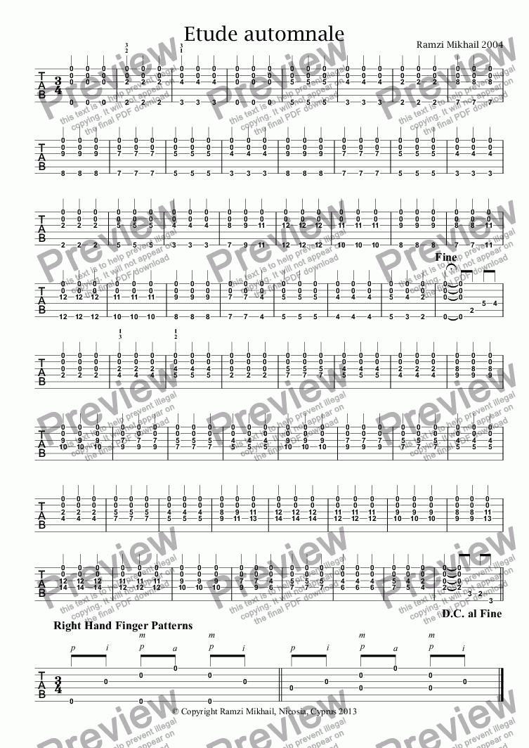 page one of Etude automnale score exchange - Full Score
