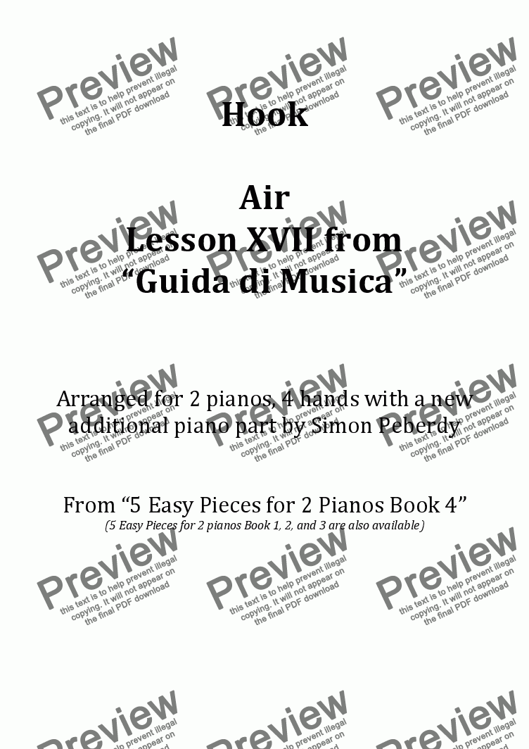 "page one of Air Lesson XVII from ""Guida di Musica"" (J Hook) Arranged for 2 pianos, 4 hands by Simon Peberdy"