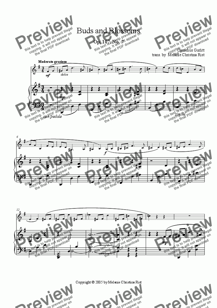 page one of Buds and Blossoms (clarinet & piano, arr. by Melanie C. Rist)