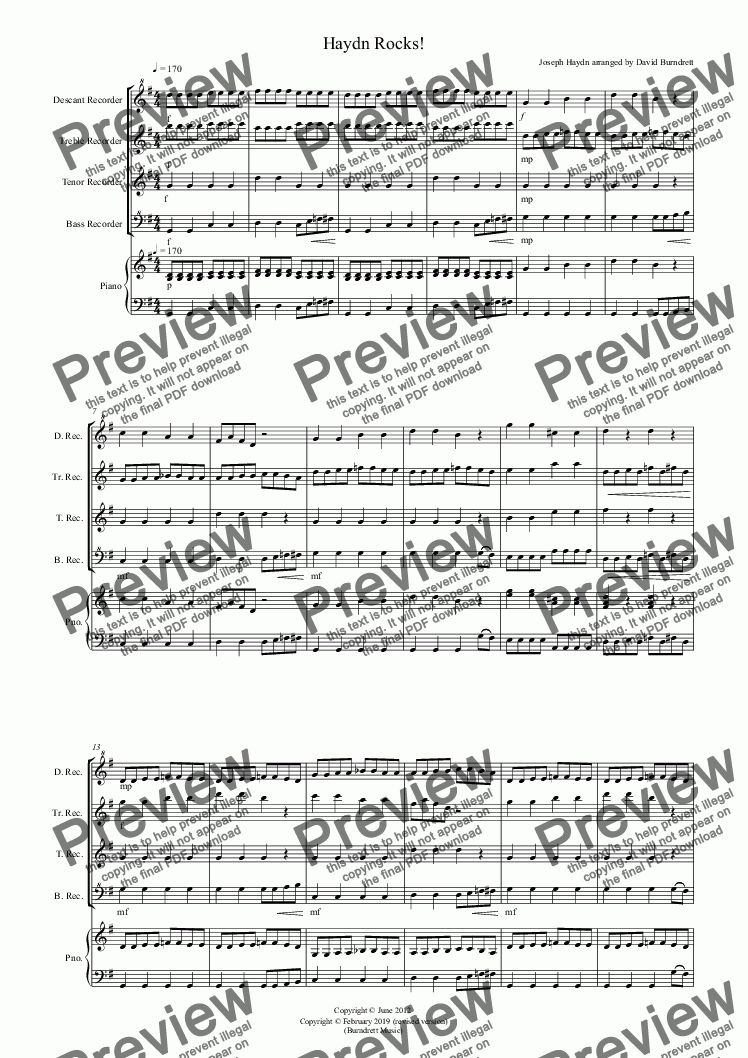 page one of Haydn Rocks! for Recorder Quartet