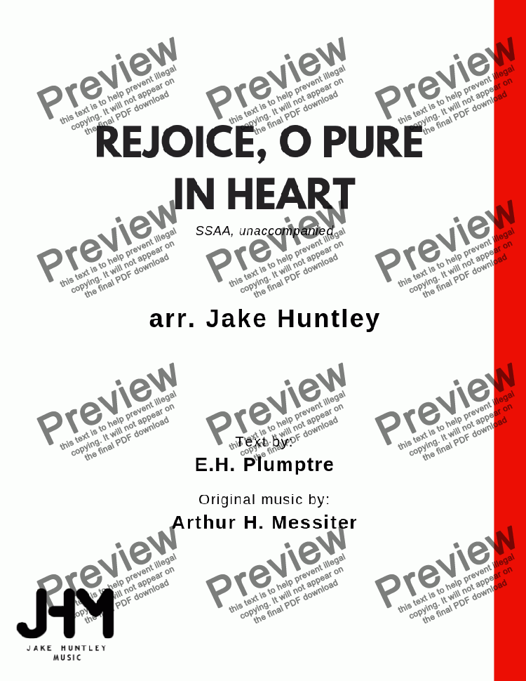 page one of Rejoice, O Pure in Heart