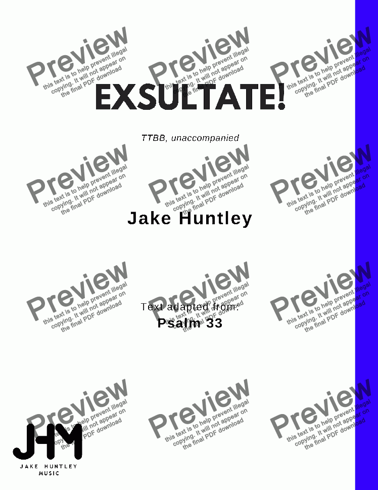 page one of Exsultate!
