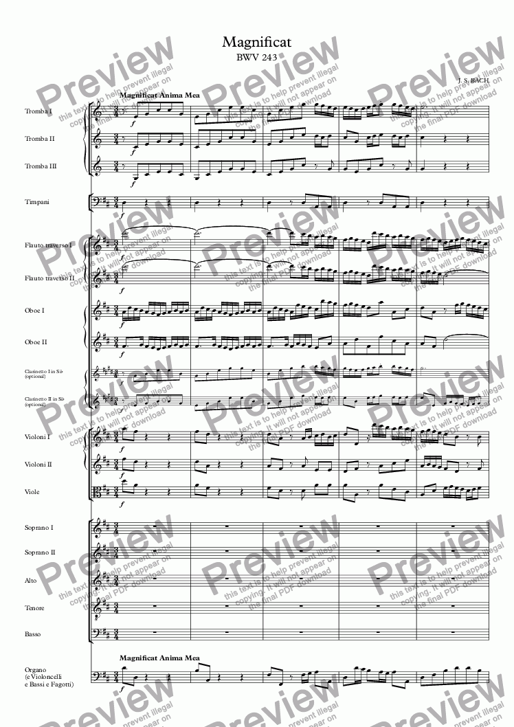 page one of Magnificat in D Major BWV 243 - Extracts