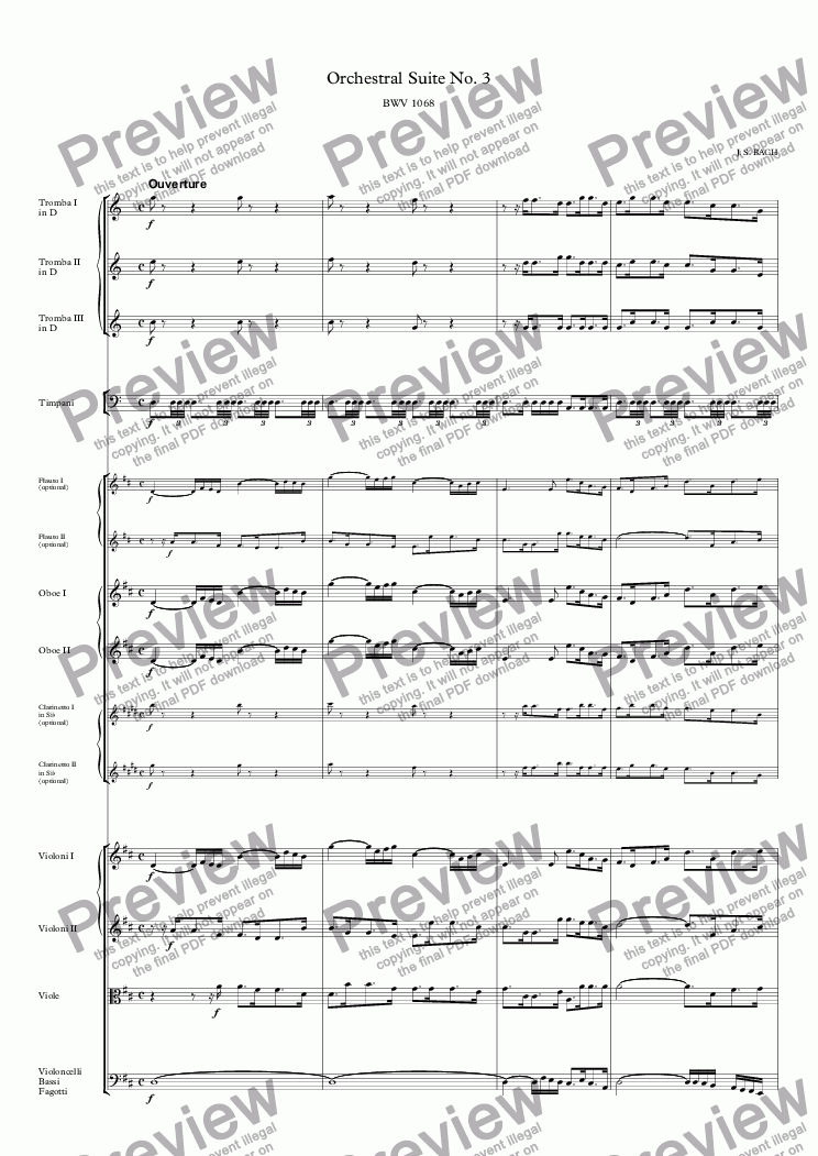 page one of Orchestral Suite No. 3 in D Major BWV 1068