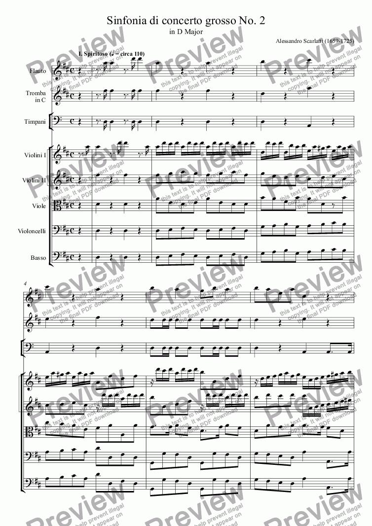 page one of Sinfonia di concerto grosso in D Major No. 2