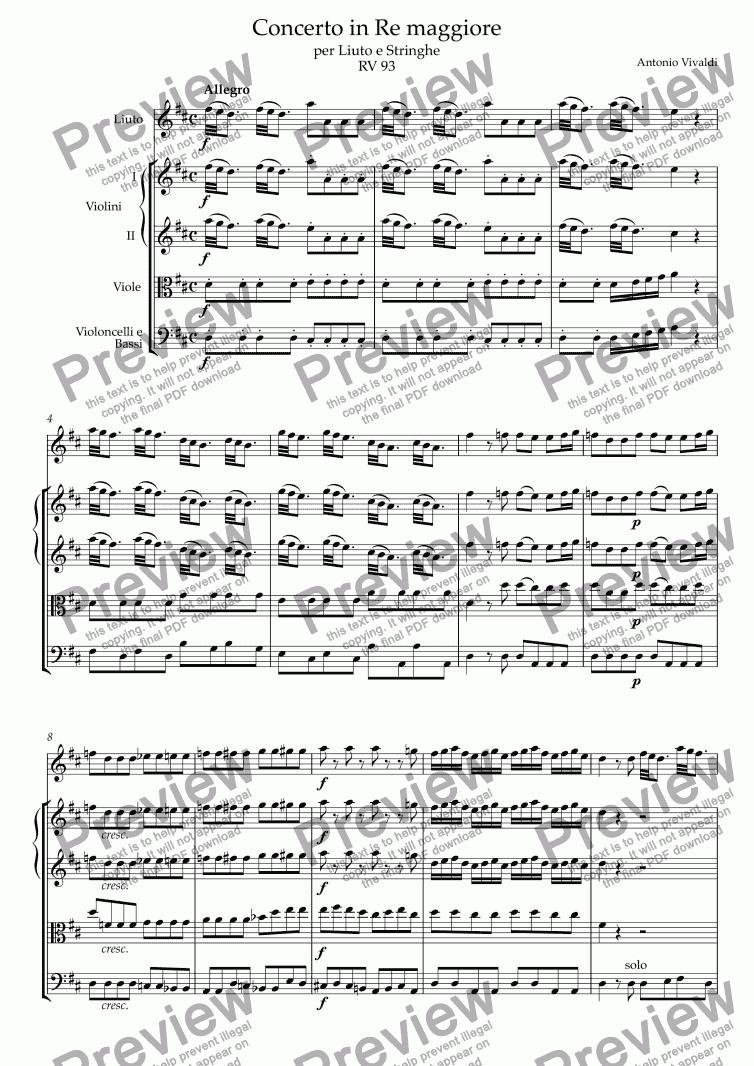 Concerto In D RV93 Antonio Vivaldi Guitar and Keyboard Set Score /& Parts