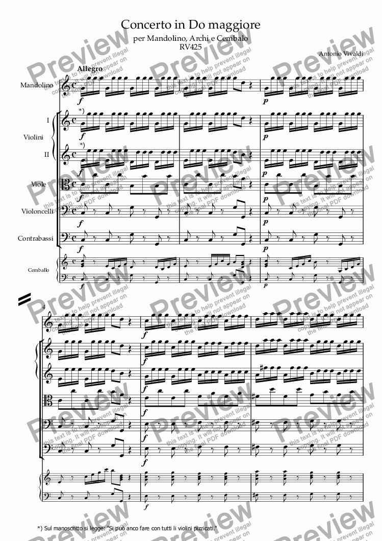 page one of Concerto in C Major RV 537
