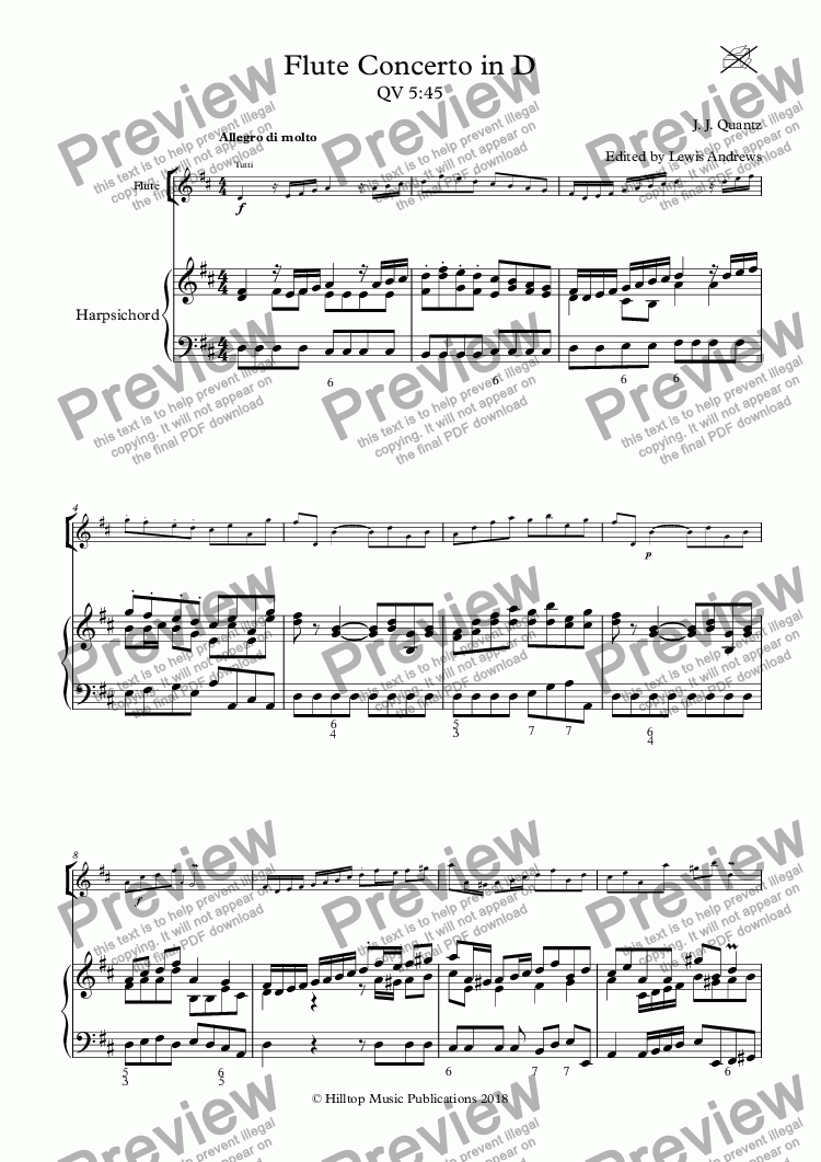 page one of Flute Concerto in D QV 5:45