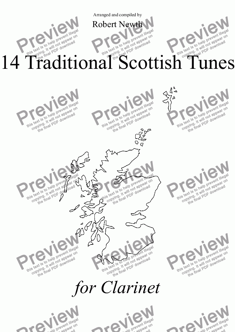 page one of 14 Traditional Scottish Tunes for Clarinet