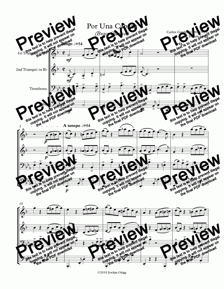 page one of Por Una Cabeza (Brass Quartet) - Score and parts