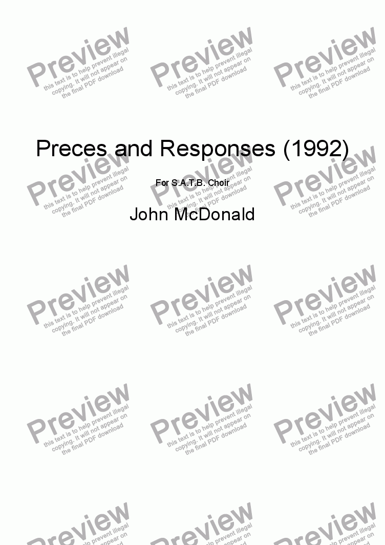 page one of Preces and Responses