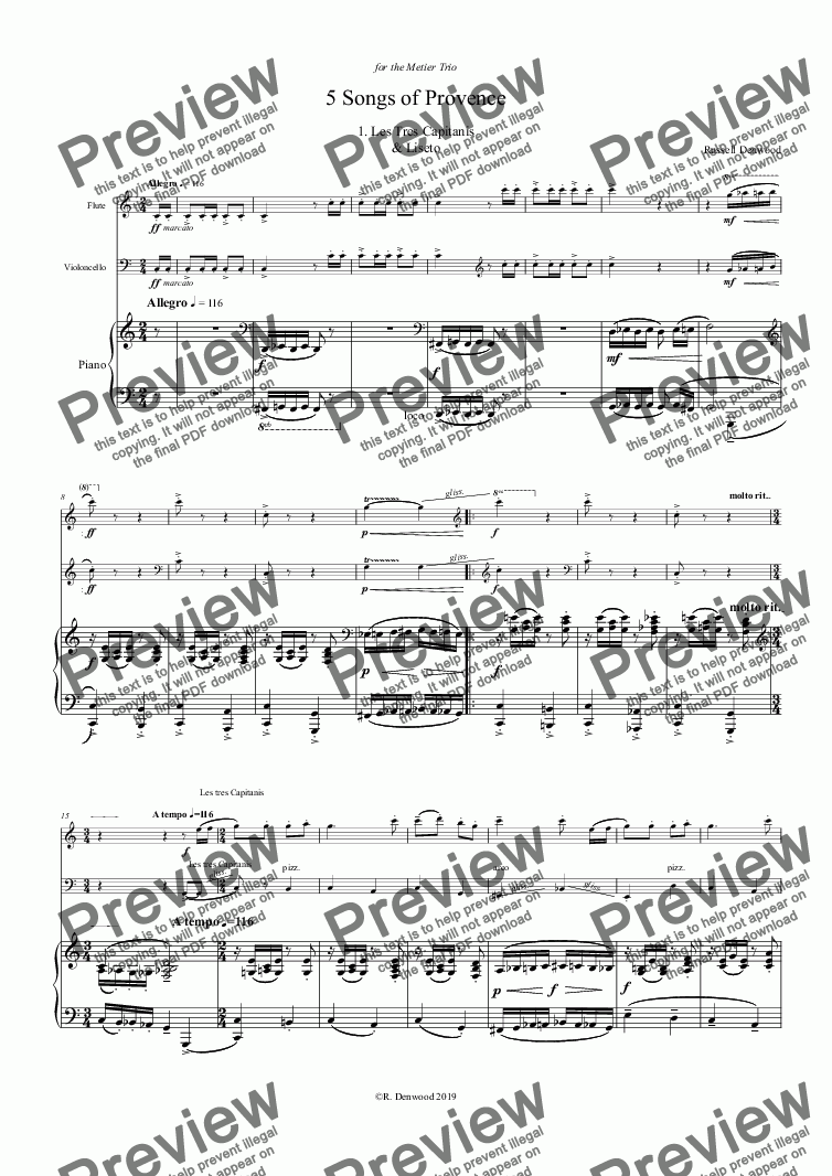 page one of Denwood - 5 Songs of Provence for Flute, Cello & Piano