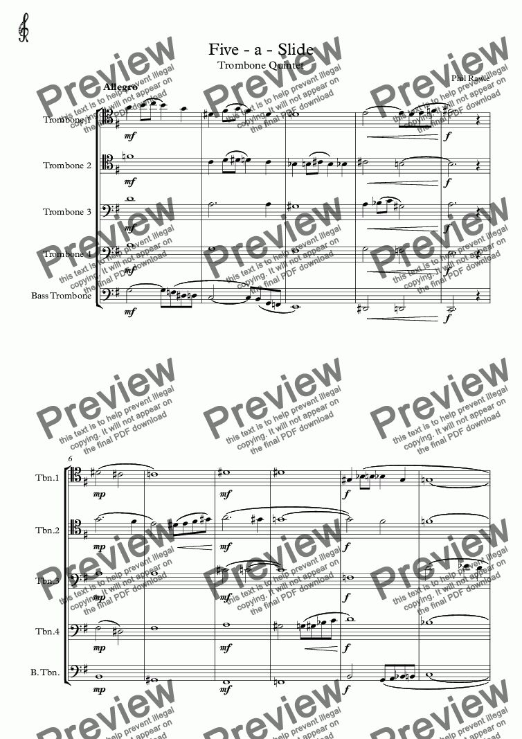 page one of Five - a - Slide  (Trombone Quintet)