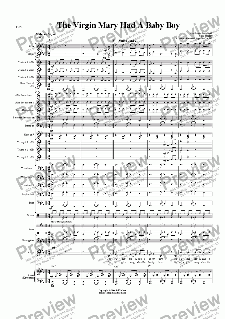 page one of The Virgin Mary Had A Baby Boy (Christmas)- Concert Band