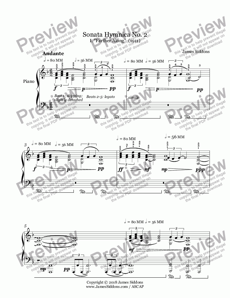 page one of Sonata Hymnica No 2 for Piano Solo
