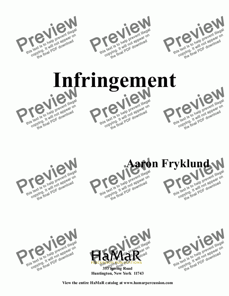page one of Infringement