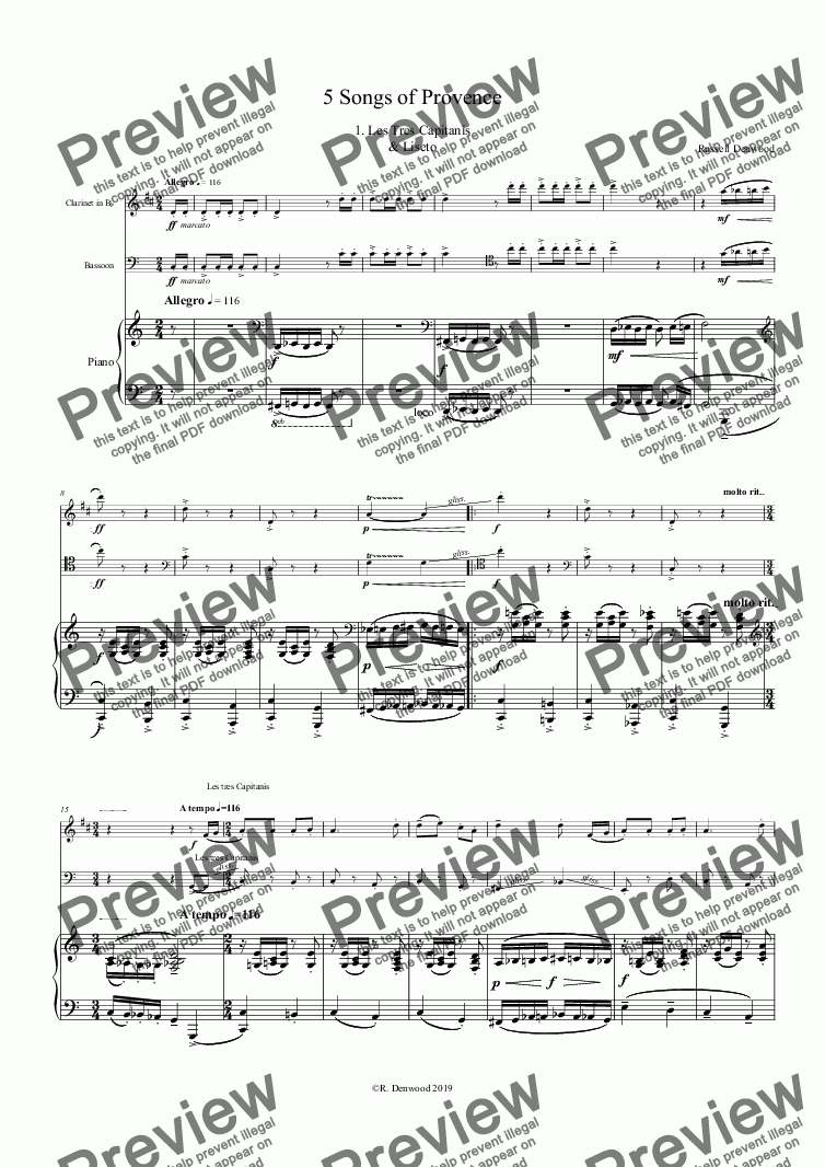 page one of Denwood - 5 Songs of Provence for Bb Clarinet, Bassoon & Piano