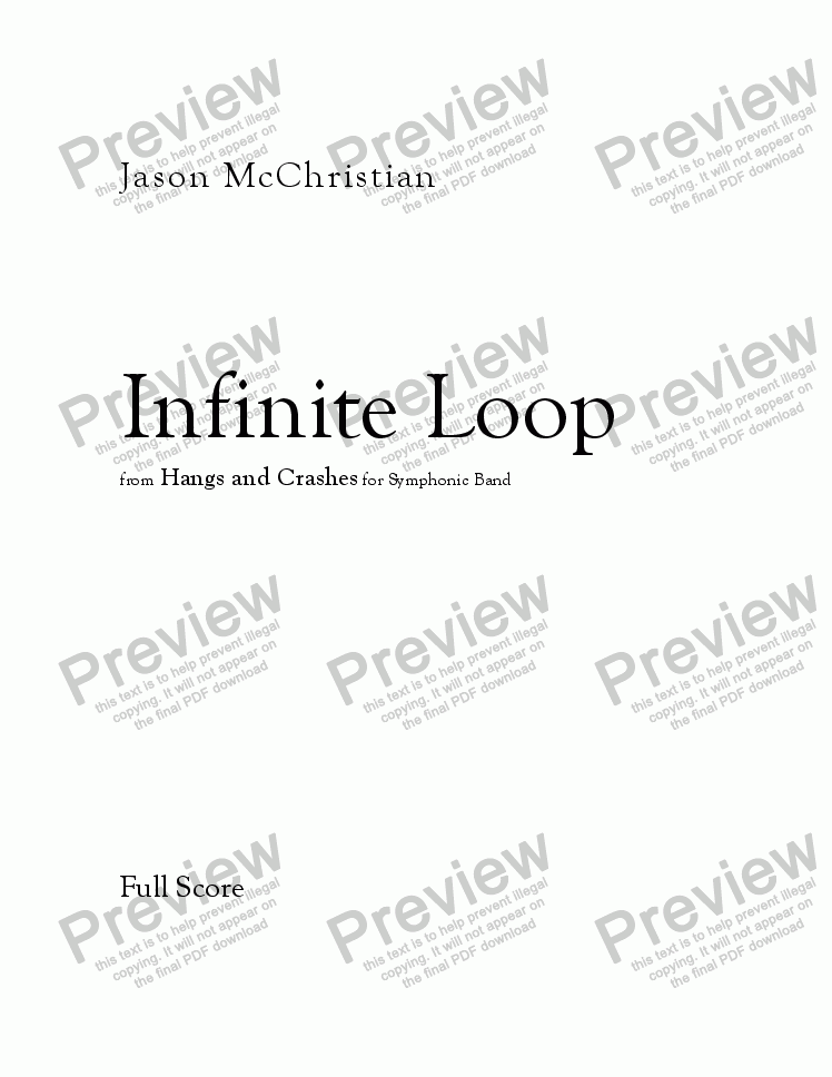 page one of Infinite Loop - for Symphonic Band - FULL SCORE AND PARTS