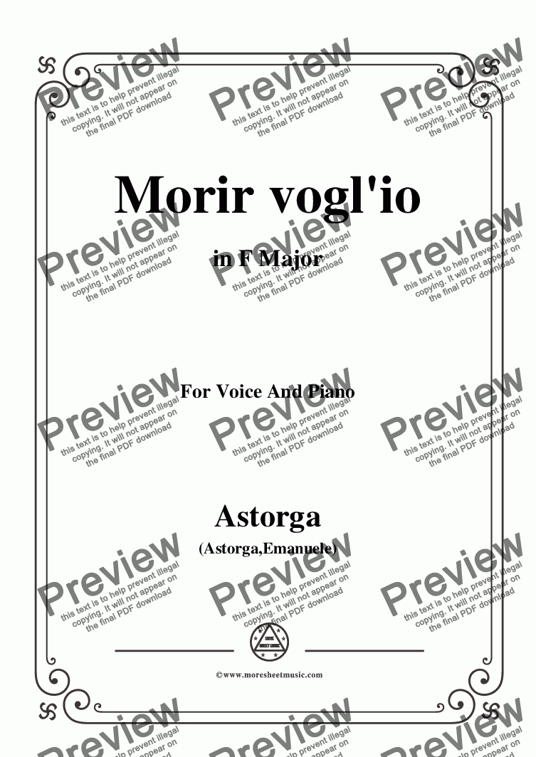 page one of Astorga-Morir vogl'io,in F Major,for Voice and Piano