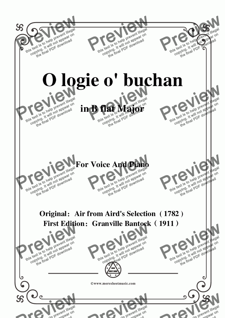 page one of Bantock-Folksong,O logie o' buchan,in B flat Major,for Voice and Piano