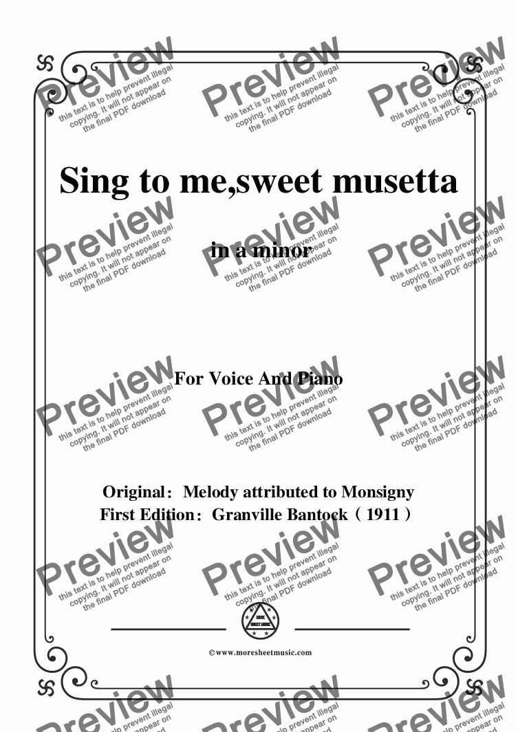 page one of Bantock-Folksong,Sing to me,sweet musetta(O ma tendre Musette),in a minor,for voice and piano