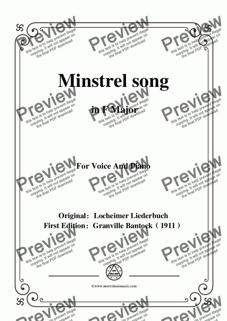page one of Bantock-Folksong,Minstrel song(Minnelied),in F Major,for Voice and Piano