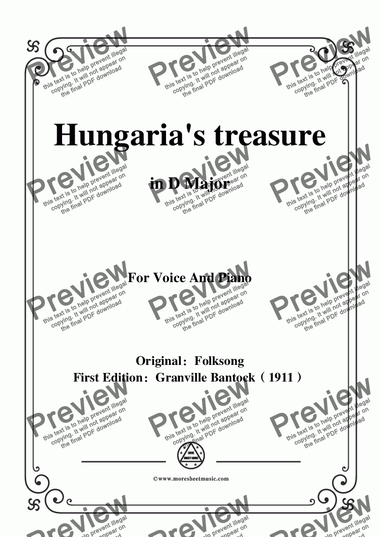 page one of Bantock-Folksong,Hungaria's treasure(Magasan repül a daru),in D Major,for Voice and Piano