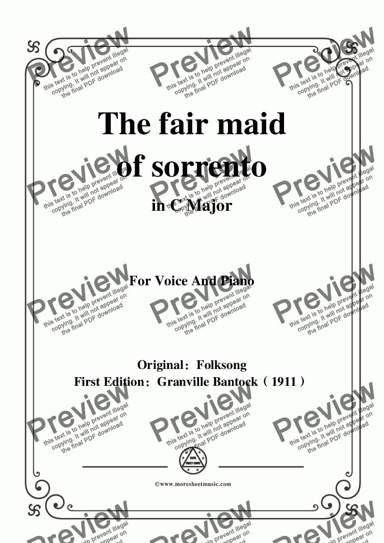 page one of Bantock-Folksong,The fair maid of sorrento(La Vera Sorrentina),in C Major