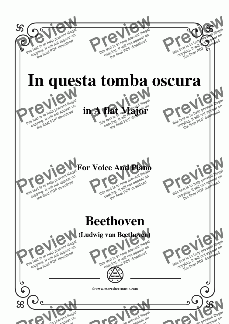 page one of Beethoven-In questa tomba oscura in A flat Major,for Voice and Piano