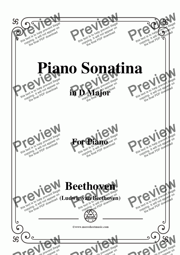page one of Beethoven-Piano Sonatina in D Major,for Piano