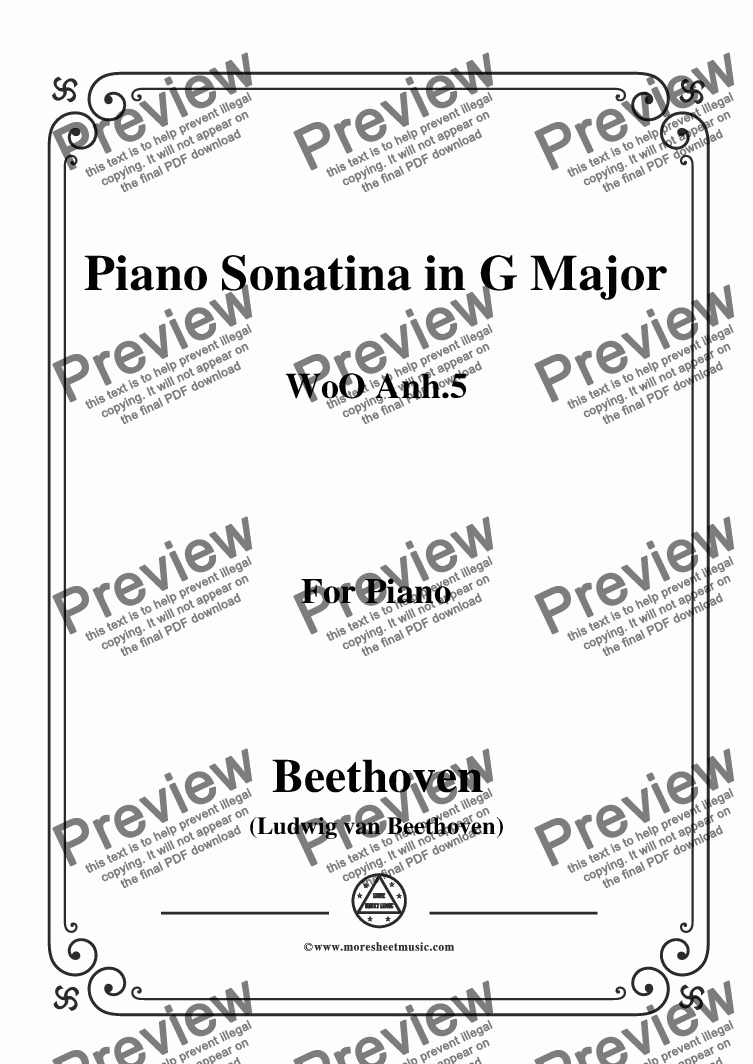 page one of Beethoven-Piano Sonatina in G Major WoO anh.5,for Piano