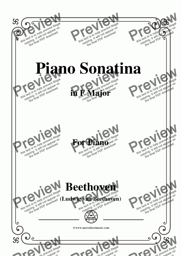 page one of Beethoven-Piano Sonatina in F Major,for Piano